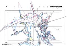 artbooksnat:  Kill la Kill (キルラキル)Key frames from the 360-degree fight sequence between Ryuko and Satsuki, at the end of the first opening animation, were featured in the Kill la Kill Animation Originals Book Vol. 01 (Amazon US | Trigger). It's kind of amazing to see just how much from each frame never makes it on screen.