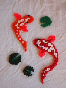 DIY Japanese Koi Carps from Perler Hama Beads. Could be made into a pretty mobile. Perler Bead Designs, Perler Bead Templates, Hama Beads Design, Diy Perler Beads, Perler Bead Art, Pearler Beads, Hama Beads Coasters, Melty Bead Patterns, Pearler Bead Patterns