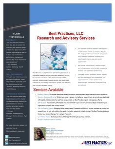 1 Pager: Best Practices Research and Advisory Services via Slideshare