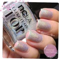 NCLA Shimmer Me Pretty holographic topcoat, in 4 coats. More on the blog: http://www.alacqueredaffair.com/Covet-London-Captain-Cassiopeia-NCLA-Shimmer-Me-Pretty-34738621
