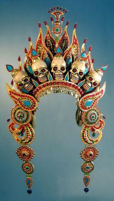for an effigy of Mahākāla, a figure/deity in both Buddhism and Hinduism.Crown for an effigy of Mahākāla, a figure/deity in both Buddhism and Hinduism. Tibetan Art, Tibetan Buddhism, Buddhist Art, Arte Tribal, Kali Goddess, Effigy, Hindu Art, Skull And Bones, Gods And Goddesses