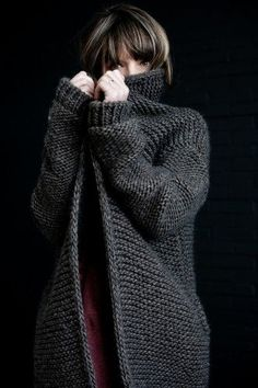 bulky garter stitch cardigan
