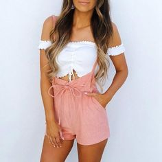 Summer Rompers Womens Jumpsuit Shorts Lace Up High Waist Pink Pants Overalls Drawstring Spaghetti Strap Casual Sexy Streetwear Summer Rompers Womens Jumpsuit Shorts Lace Up High Waist Pink Pants Ov – geekbuyig Stylish Outfits, Cute Outfits, Fashion Outfits, Fashion Fall, Fashion Trends, Womens Fashion, Rompers Women, Jumpsuits For Women, Fancy Jumpsuits