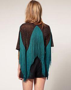 ASOS Metallic Knitted Jacket With Fringe Details