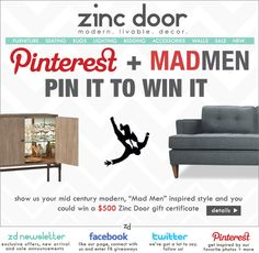 Pin It to Win it contest from our mod alter ego store Zinc Door! Open March 26- March 30th!