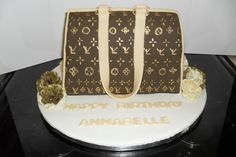 Louis Vuitton style bag cake