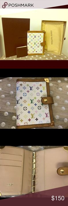 Louis Vuitton multi color PM agenda Used with hot stamped initials coming with everything shown in the pic Louis Vuitton Other