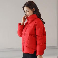 d307371687 Causal Stand Collar Warm Winter Jacket Women 2018 New Down Parkas Cotton  Padded Jacket Girls Slim Thick Short Female Jacket Coat