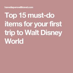 Top 15 must-do items for your first trip to Walt Disney World