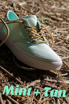 We love the color combo on these @Vans! #mint #tan #famousfootwear