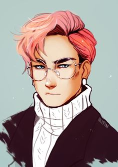 Pink hair and spectacles