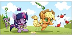 Chao MLP:Twilight, AppleJack and Spike by Extra-Fenix.deviantart.com