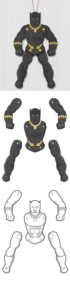 Create your own awesome superhero Black Panther Paper Puppet! Easy paper craft and loads of fun