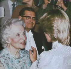 1983-07-22 Diana is greeted by her maternal grandmother, Ruth, Lady Fermoy, and the founder of the King's Lynn Festival of the Arts, at St Nicholas' Chapel, King's Lynn, Norfolk