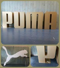 PUMA ☆ letters in goud cm hoog ~ beeldmerk onbewerkt afm. 300 x 250 cm. Magnetic Knife Strip, Letter Logo, Knife Block, Home, Ad Home, Homes, Haus, Houses