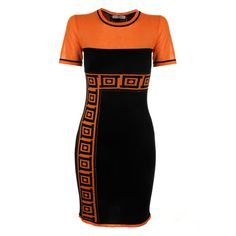 Versace Collection Greca Intarsia Short Sleeve Dress ($630) ❤ liked on Polyvore featuring dresses, collar dress, versace, embellished dress, versace dress and embellished collar dress