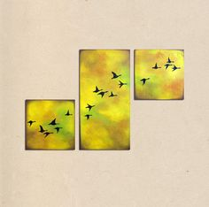 geese flying in the golden sky  36  x 24 rustic by shannacreations