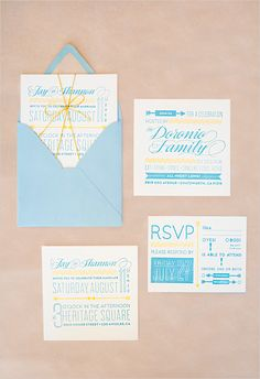 We like this square card invite. Perhaps the set can be tied together with the gold string or sequins. Include a square invite maybe that folds open in thirds, fold out itinerary, reply card and envelope. I pinned a postcard but we would rather have the reply card be in an envelope.