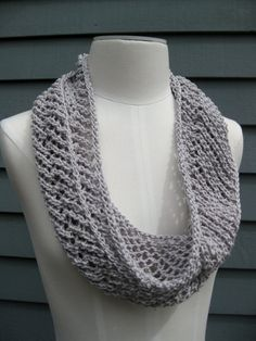 Cotton Infinity Scarf  Grey Pearl by SimpleKnitShop. doing this!