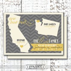 Map Moving Announcement  Personalized 4x6 by stewartdesignstudios, $45.00