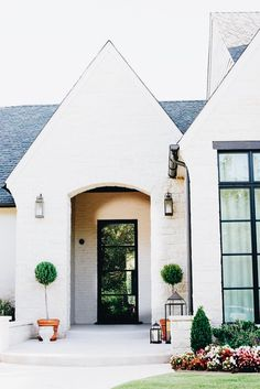 "exterior brick paint color is ""Sherwin Williams SW 7036 Accessible Beige"" Interior Exterior, Exterior Design, Stone Exterior, Exterior Paint, Ranch Exterior, Bungalow Exterior, Interior Doors, Style At Home, Home Design"