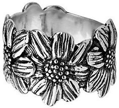 Or Paz Sterling Sunflower Band Style Ring #ad