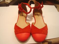 NEW  J Crew Leather Suede  Flats Sz 7 California poppy Red Pink  #JCrew #Flats