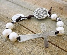 Sideways Cross Bracelet by MiShelDesigns http://www.MiShelDesigns.Etsy.com