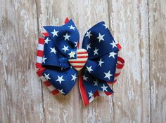 Patriotic USA BIG hair bow headband Pinwheel by CicisBowBoutique