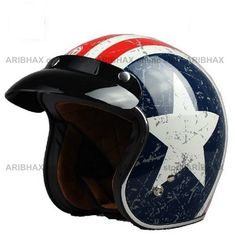 Vintage Retro 3/4 Open Face Motorcycle Helmet American Flag Star DOT