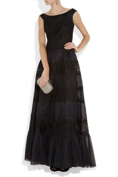 Valentino Black Lace and pleated silk-tulle gown BNWT IT 38 UK 6 £7290 #Valentino