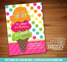 Printable Colorful Ice Cream Party Birthday Invitation | Sundae Party | Ice Cream Social or Any Event | Dessert Party | Digital File | Little Girls Summer Birthday Party Idea | Digital File | FREE thank you card | Party Package Available | Banner | Cupcake Toppers | Favor Tag | Food and Drink Labels | Signs | Candy Bar Wrapper | www.dazzleexpressions.com