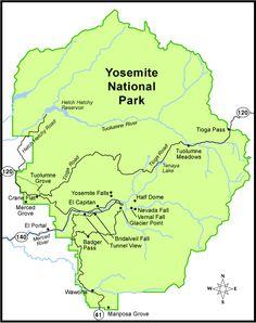 Yosemite Map of Landmarks Must See Yosemite California, California Dreamin', Yosemite National Park Map, National Parks, Yosemite Vacation, Tuolumne Meadows, Merced River, Road Trip Map, Angeles