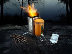 Portable Camping Stove/Device Charger: Hikers and campers tired of lugging heavy petroleum gas canisters to fuel their portable cook stoves and solar panels to recharge their electronics can now travel lighter