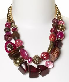 Loving this Pink & Gold Chunky Bead Double Strand Necklace on #zulily! #zulilyfinds