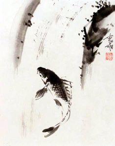 Jan Zaremba - Carp Leaping Waterfall #sumie #brushpainting #Ink and Wash Painting #Chinese Art #Japanese Art