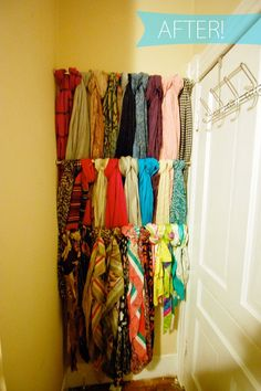 I may have a bit of a scarf addiction. With practically nonexistent closet space, they were taking over the hooks on my bedroom door. Not only was it an eyesore, it was impossible to grab a coat or scarf without creating an avalanche of accessories. This weekend, I found a solution that was quick, inexpensive, and visually interesting. Check out the after, after the jump!