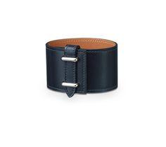 "Hermes leather bracelet (size M)  Indigo box calfskin  Palladium plated hardware, 2.5"" diameter, 7"" circumference."