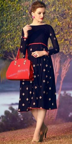 Outstanding Blue Georgette Kurti.