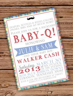 Baby Boy Shower Invitation BabyQ - love this idea for baby meet and greet