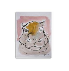 Nilpferd  Zeichnung Original  free shiping von Kunstmuellerei, €17.00