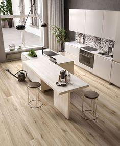 Modern kitchen ideas for your home, apartmen in and - A Kitchen Room Design, Modern Kitchen Design, Kitchen Layout, Home Decor Kitchen, Kitchen Furniture, Kitchen Interior, Home Interior Design, Home Kitchens, Küchen Design
