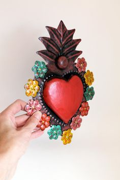 Mexican Wall Art, Tin Art, Going Insane, Mexican Style, Sacred Heart, Good Vibes Only, Aztec, Folk Art, Valentines