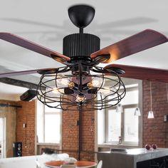 Bon Pas Cher Haute Qualité Grenier Ventilateur Lustre Rétro Salle à Manger  Ménage Ventilateur électrique Muet LED