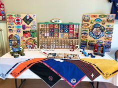 Son's display table at Eagle CoH Tiger Scouts, Cub Scouts, Girl Scouts, Eagle Scout Ceremony, Eagle Design, Blue Gold, Eagles, Cubs, Celebrations