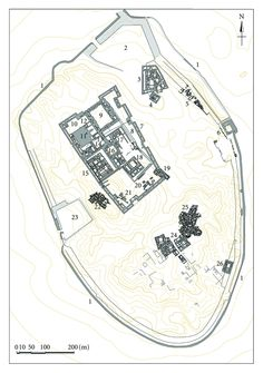 The City of Ur, Early Dynastic III, late 3rd mill. BCE. Ceremonial complex in centre of the city, including ziggurat and Giparu. Urban residential neighbourhoods (centre-southeast). Royal Tombs (northwest)