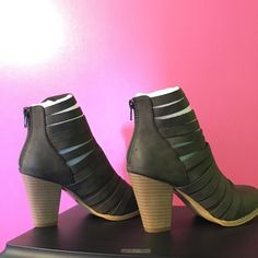 """ThreeBird Nest Strappy Boho Booties Super trendy for the boho babe!  Outside heel height- 3 1/2"""", inside heel height- 2 1/2 inches. Back zip. Perfect for all seasons! These are a beautiful dark gray color. -gorgeous! This is the only pair in this size! Three Bird Nest Shoes Ankle Boots & Booties"""