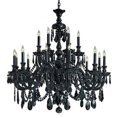 I love this, wish I could have something like this in the kitchen, Vintage Black Crystal Chandelier