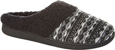 Best Womens Slippers | Dearfoams Womens Reverse Fair Isle Clog Slippers Large Black -- For more information, visit image link.(It is Amazon affiliate link) #school