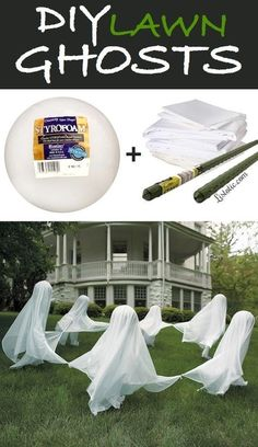 DIY Lawn Ghosts Yard Halloween Decorations Tutorial   Listotic - Spooktacular Halloween DIYs, Crafts and Projects - The BEST Do it Yourself Halloween Decorations #halloween #halloweendecorations